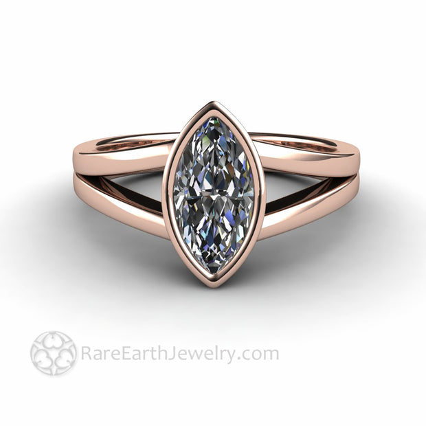 Unique Engagement Rings Marquise Cut Lab Grown Diamond Ring in 18K Rose Gold