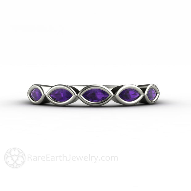 Unique Stacking Ring East West Purple Amethyst Ring White Gold Stackable Band by Rare Earth Jewelry