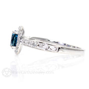 View of vintage inspired engraved band on Blue Topaz Ring by Rare Earth Jewelry