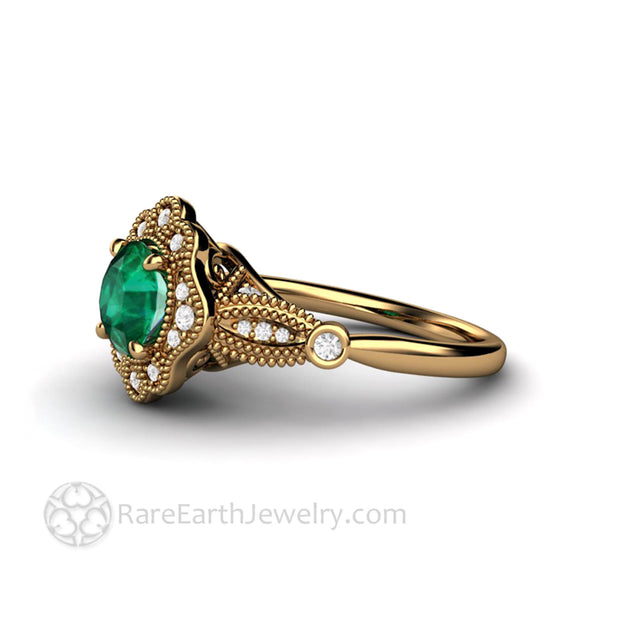Vintage Inspired Birthstone Ring for May Round Green Emerald Ring in 18K yellow gold