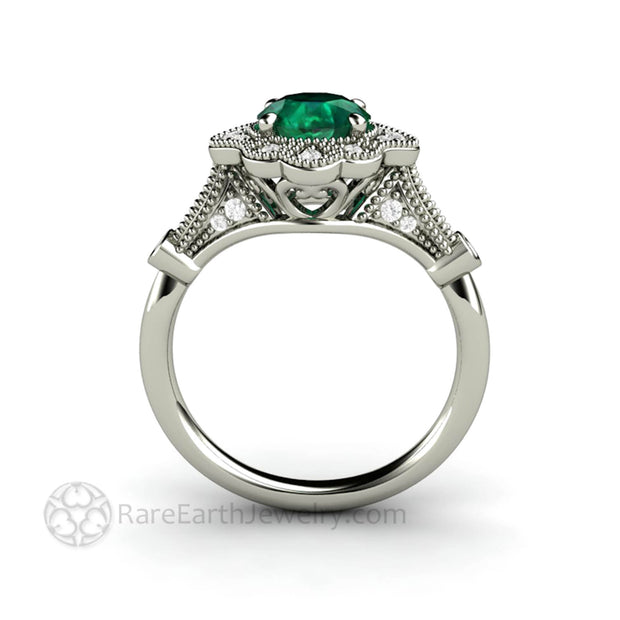 Vintage Style Emerald Engagement Ring Ornate Diamond Halo Design with filigree