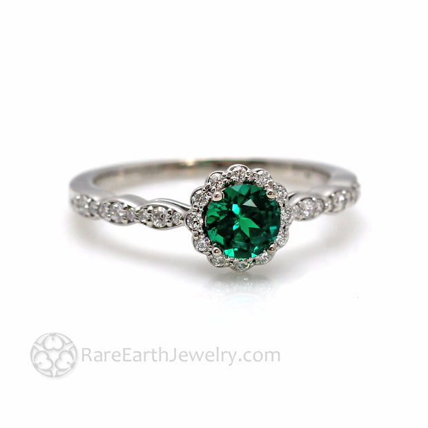 Round Green Emerald Engagement Ring with Vintage Inspired Diamond Halo Design and Feminine Scalloped Band Custom Made May Birthstone Jewelry by Rare Earth Jewelry