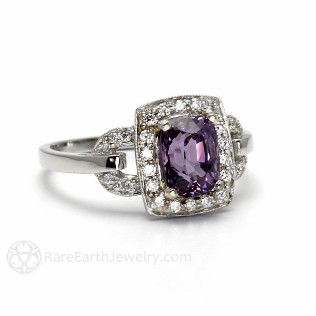 Unique Engagement Ring with Art Deco Design and Cushion Cut Purple Spinel