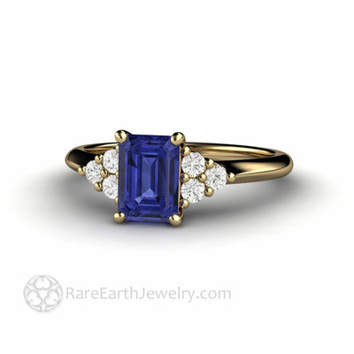 Emerald Cut Tanzanite and Diamond Ring in Yellow Gold