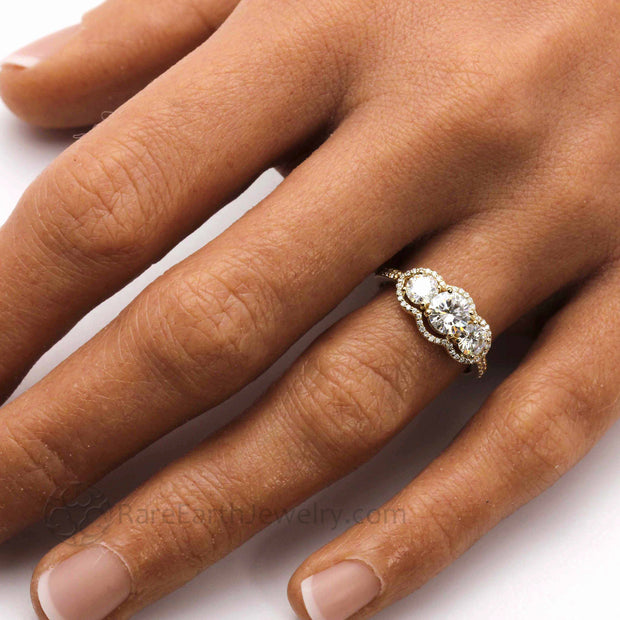 Vintage Inspired Three Stone Ring with Forever One Moissanite