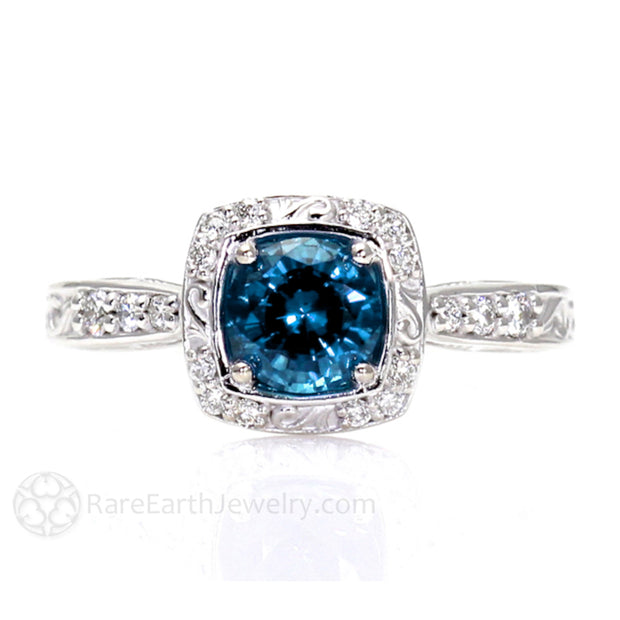 Vintage London Blue Topaz Ring with Filigree and Diamonds Unique Colored Gemstone Engagement Rings by Rare Earth Jewelry