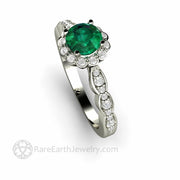 Vintage Style Emerald Engagement Ring with Scalloped Diamond Halo by Rare Earth Jewelry