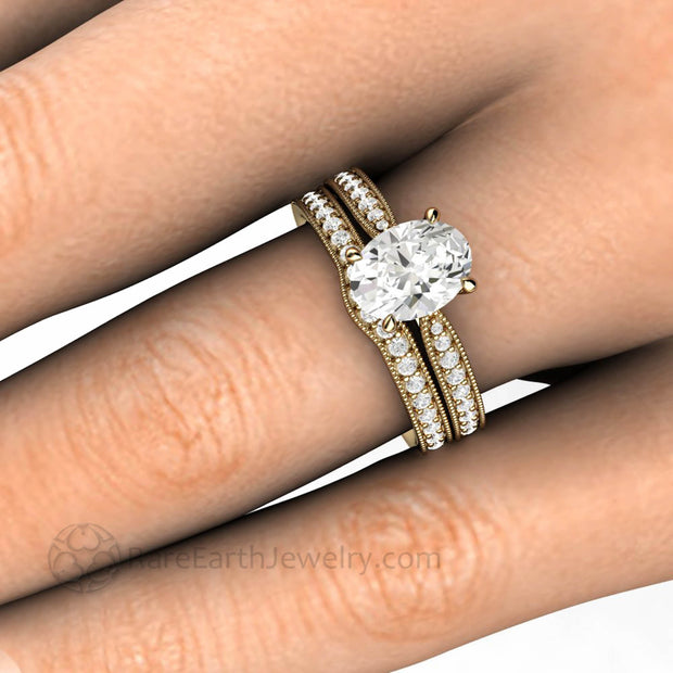 Vintage Style Oval Moissanite Engagement Ring Bridal Set Hand Photo