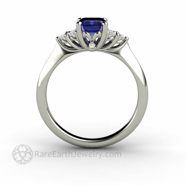 Tanzanite and Diamond Engagement Ring with Filigree Gallery and Hidden Diamond in White Gold