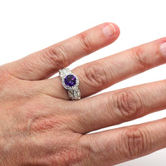 Amethyst Right Hand Ring Vintage Design Diamond Halo on Finger Rare Earth Jewelry