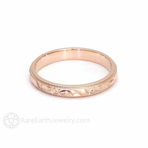 Rose Gold Wedding Band Hand Engraved Antique Style Rare Earth Jewelry