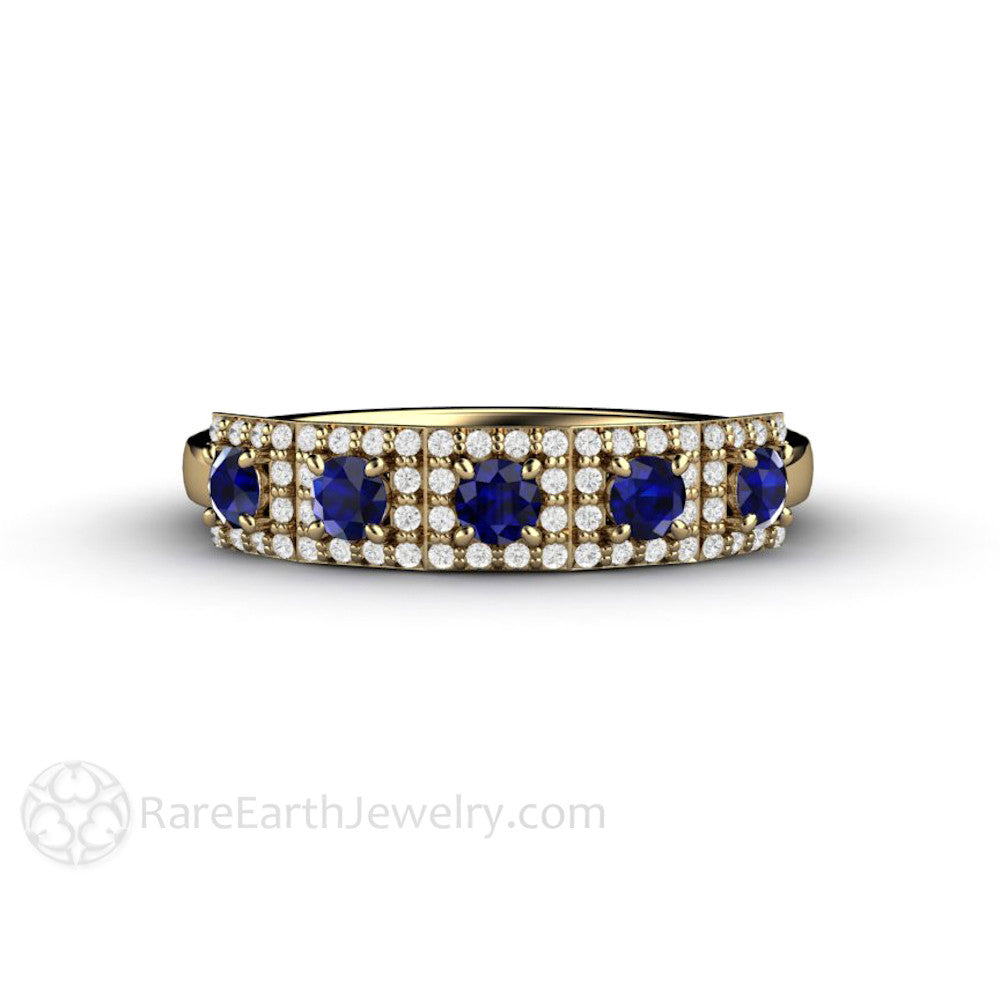 Art Deco Vintage Style Sapphire And Diamond Ring Round Cut