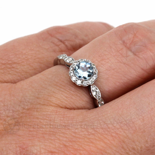 Rare Earth Jewelry Vintage Aquamarine Ring Diamond Halo on Finger
