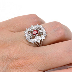 Filigree Art Deco Ruby Ring Vintage Style on Finger Rare Earth Jewelry