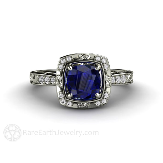 Rare Earth Jewelry Cushion Cut Blue Sapphire Ring With Diamonds