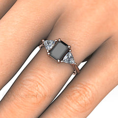 Vintage Emerald Cut Black Diamond Sapphire Ring Rose Gold on Finger Rare Earth Jewelry