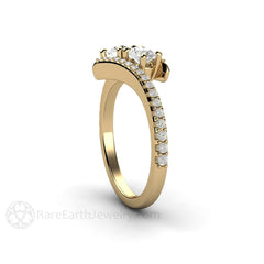 Bypass 2 Stone Diamond Ring Round Cut 14K Gold Rare Earth Jewelry