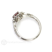 Rare Earth Jewelry Vintage Spinel Bridal Ring with Milgrain Diamond Halo