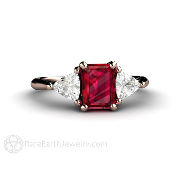 Rose Gold Vintage Ruby 3 Stone Ring White Sapphire Accents Rare Earth Jewelry
