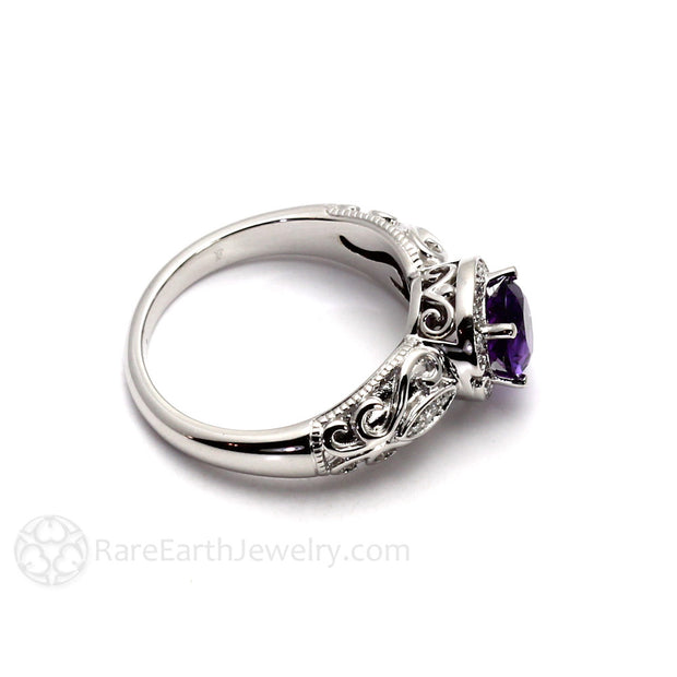 14K Amethyst Filigree Ring with Diamonds Rare Earth Jewelry