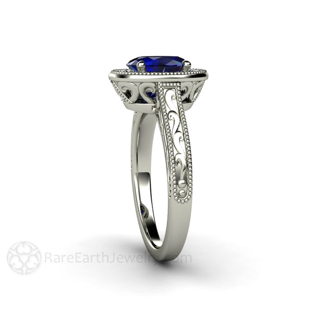 Engraved Art Deco Halo Wedding Ring Oval Blue Sapphire 14K Rare Earth Jewelry