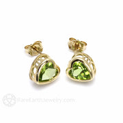 Rare Earth Jewelry Vintage Peridot Stud Earrings 14K Gold Filigree
