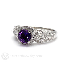 Rare Earth Jewelry 14K Art Nouveau Amethyst Ring Round Cut