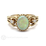 14K Oval Cut Opal and Diamond Ring Rare Earth Jewelry
