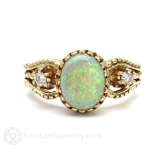 Art Nouveau Oval Opal and Diamond Ring Vintage Design Rare Earth Jewelry