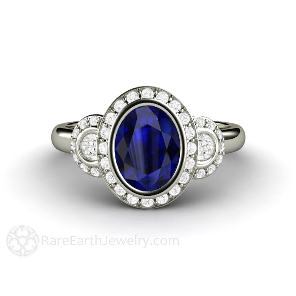 Oval Blue Sapphire Engagement Ring Antique 3 Stone With Diamond Halo