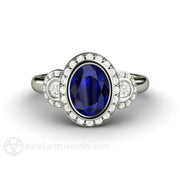 Rare Earth Jewelry Oval Blue Sapphire Engagement Ring Antique 3 Stone Design with Diamond Halo