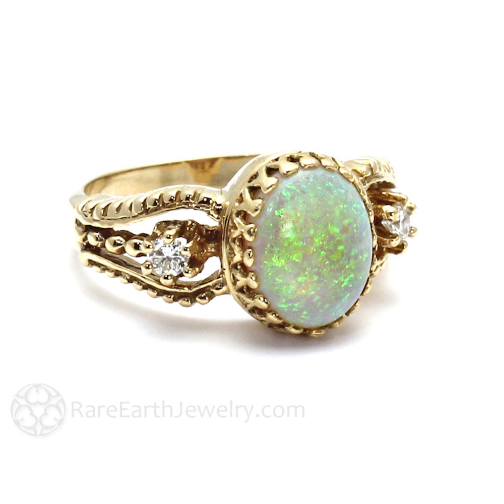 Rare Earth Jewelry Oval Cut Opal Ring with Diamonds 14K Gold October Birthstone