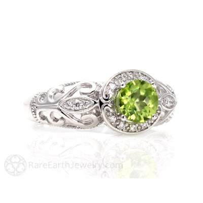 Rare Earth Jewelry Peridot Halo Ring Vintage Art Nouveau Design