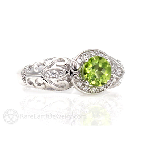 Vintage Peridot Ring Art Nouveau Diamond Halo August Birthstone