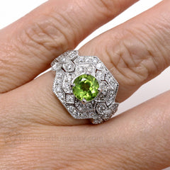 Rare Earth Jewelry Peridot and Diamond Ring Antique Style August Birthstone