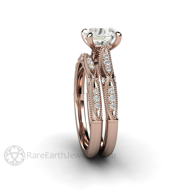 Rare Earth Jewelry 1.5 Carat Round Cut Colorless Wedding Ring Set Forever One Moissanite 14K or 18K Rose Gold Milgrain with Diamond Accents