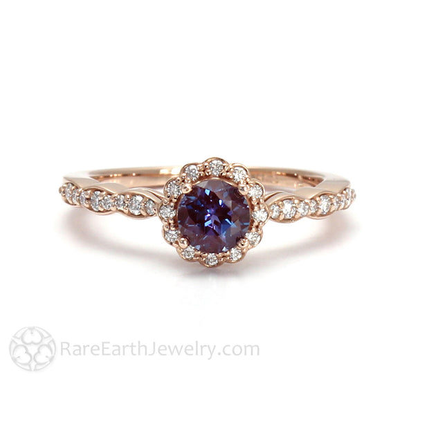 Rare Earth Jewelry June Birthstone or Anniversary Ring Alexandrite with Diamond Halo Accent Stones