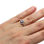 Rare Earth Jewelry Alexandrite Halo Right Hand Ring on Finger 14K Rose Gold
