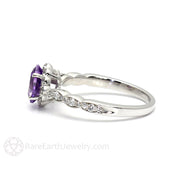 Purple Amethyst Ring Vintage Diamond Halo Scalloped Band 14K White Gold Rare Earth Jewelry