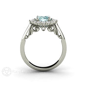 Rare Earth Jewelry 1ct Round Blue Moissanite Halo Ring Vintage Filigree Scrollwork Design Conflict Free Diamond Alternative