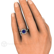 Vintage Style Blue Sapphire Ring on Finger Rare Earth Jewelry