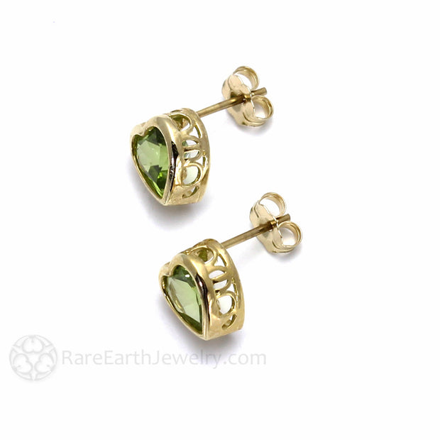 Rare Earth Jewelry Green Peridot Earrings Post Back 14K Gold