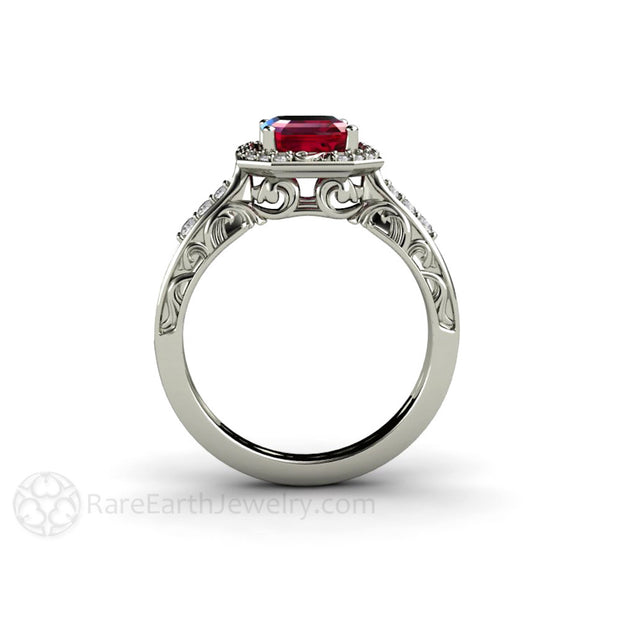 Art Deco Filigree Ruby Engagement Ring Rare Earth Jewelry
