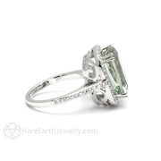 Rare Earth Jewelry Cushion Green Amethyst Ring Vintage Style 14K Halo Setting