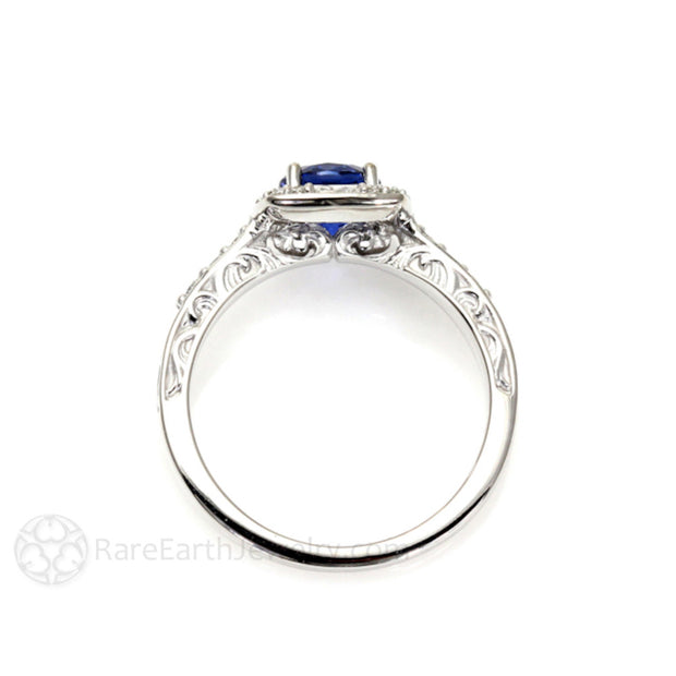 Rare Earth Jewelry Art Nouveau Diamond Halo Blue Sapphire Ring 14K White Gold