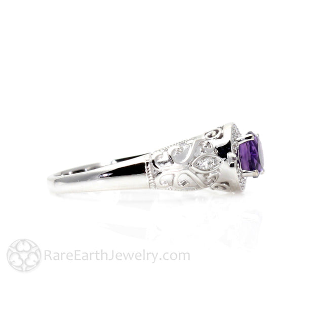 February Birthstone Ring Amethyst White Gold Rare Earth Jewelry