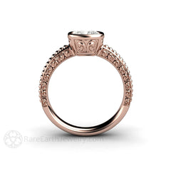 Rose Gold Fleur de Lis Moissanite Ring Cushion Rare Earth Jewelry
