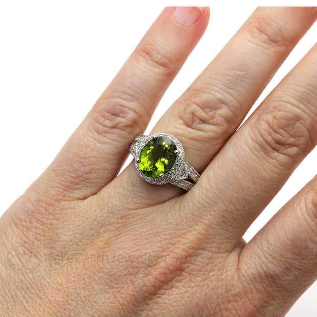 Rare Earth Jewelry Oval Peridot Ring on Finger Art Deco Vintage Design