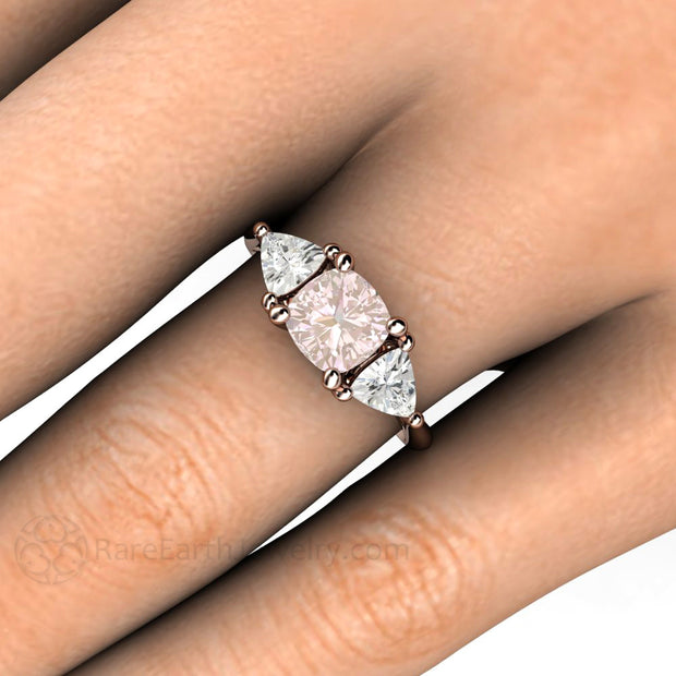 Cushion Pink Sapphire Engagement Ring on Finger Rare Earth Jewelry