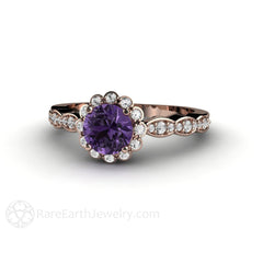 Rose Gold Purple Sapphire Diamond Halo Ring Rare Earth Jewelry